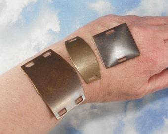 3 Assorted Vintaj Connectors Natural Brass Altered Blanks Sampler Pack Emboss, Etch, Stamp (V163)