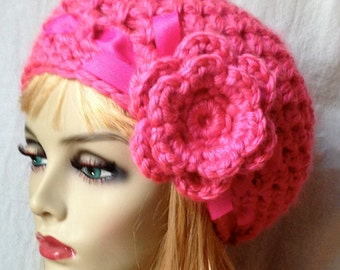 Crochet Slouchy Beret, Womens Hat, Hot Pink or Pick Your Color, Ribbon, Chunky, Teens, Winter, Birthday Gifts, Gifts for Her, JE368BTR9