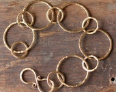 classic hammered gold link bracelet- the circles