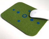 Mouse Pad/trivet in Green and Blue Felt