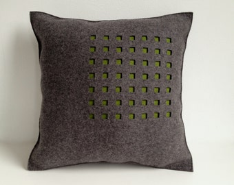 SALE Dark Gray Felt Pillow with Green Squares Free US Shipping