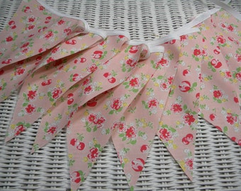 Free USA Shipping/Pink Photo Prop Fabric Banner/Pink Fabric Banner/Cherries Banner/Prop/Birthday Party/Nursery Banner/Home Banner/Bunting