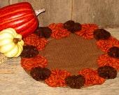 Primitive Candle Mat, Yo-Yos, Fall, Halloween Orange and Brown