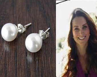 Kate Middleton Jewelry , Duchess of Cambridge , Classic Pearl Earrings, Celebrity Inspired Jewelry