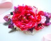 Hot Pink Peony Bridal Flower Sash, Pink Weddings Accessories, Peony Maternity Belt, Bridesmaids, Pink Purple Plum Red Sash, Photo Prop