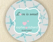 Starfish Thank You Wedding Stickers - Personalized circle stickers - Set of 5 sheets - Bridal Shower Labels - Favor Tag - Address Labels