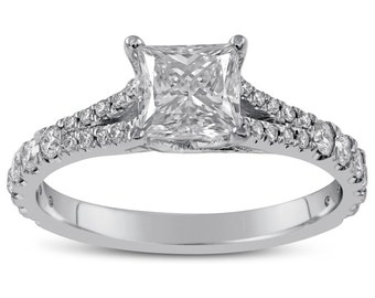 PRINCESS cut split shank style diamond engagement ring P2