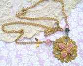 spring bee necklace assemblage pink upcycle pin