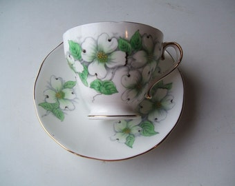 Jon Roth American Dogwood Teacup & Saucer Set, Hand Painted Salisbury, JONROTH England Bone China