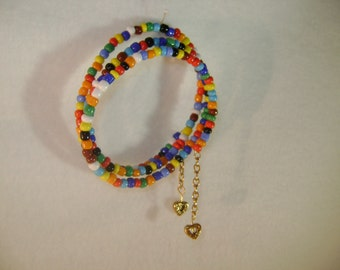 Multi Color Glass Bead Wrap Bracelet