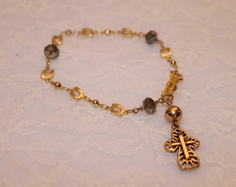 Gold Chain Bracelet with Cross