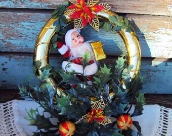 Vintage Christmas Wreath Santa Claus Ornaments Greenery Mod Retro 1960s Decoration