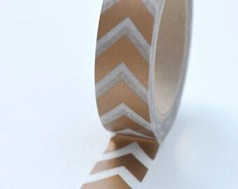 Washi Tape - 15mm - Metallic Copper Chevron on White - Deco Paper Tape No. 1001