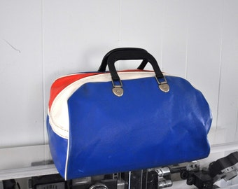 Choose a Bowling Bag Pleather Vinyl Red White and Blue Design Red Black