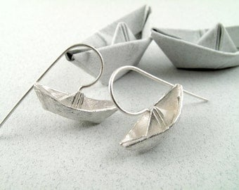 Origami Jewelry Silver Boat Earrings Origami Boat