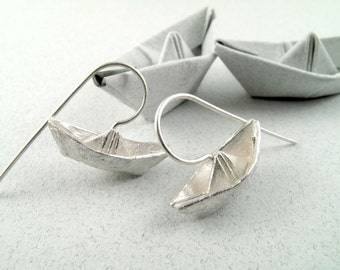 Origami Jewelry Silver Boat Earrings Origami Boat Earrings