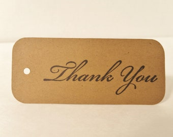 100 Kraft Paper Thank You Tags Wedding Tags Gift and Favor Hang Tags Baby Shower
