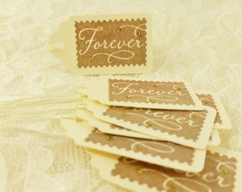 Wedding Favor Tags Forever Stamp Gold Glitter Postage Travel Theme Set of 10