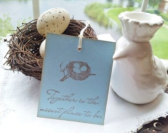 Bird Nest Tags Together Quote Wedding or Baby Shower Set of 6