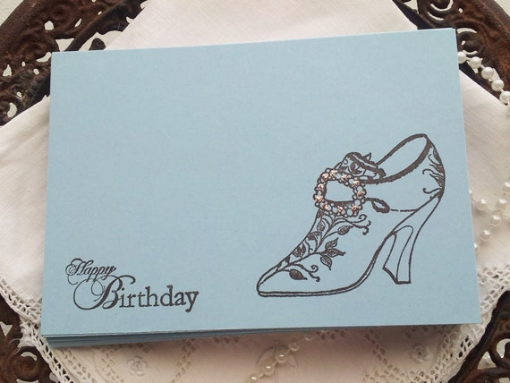 Happy Birthday Wish Cards High Heel Shoe Fashion Cards Notes Tags Set of 25