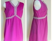 Vintage 1970's Dress //  Pink Purple Sleeveless Mini Dress // Metallic Tinsel Trim // Magenta Empire Waist Sleeveless Dress