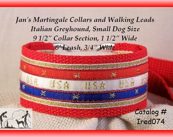 """Jansmartingales, Red Dog Collar Leash Combination Walking Lead,  Italian Greyhound, Small Dog Size Ired074, 9 1/2"""" Collar Section"""