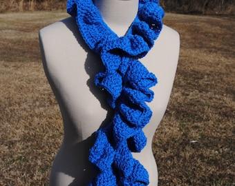 Blue Ruffle Scarf, Crochet Scarf, Crochet Blue Scarf, Long Scarf, Warm Scarf, Thick Scarf