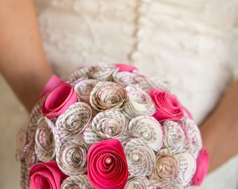Eco Wedding Paper Bouquet - Recycled book origami OOAK pomander kissing ball