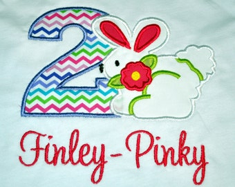 Birthday Girl Outfit - Monogrammed/Personalized Second Birthday Bunny Rabbit, Easter Appliqued T-shirt, Sizes 2T or 3T