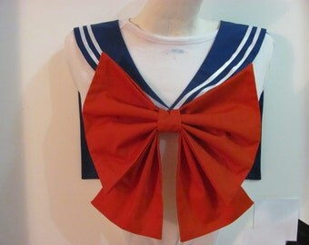 Royal Blue Collar and Red Bow Sailor Scout Moon Cosplay Costume