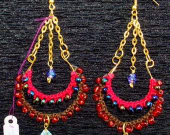 HOT ITEM Sale!  BOLLYWOOD Earrings - Aurora and Purple blue Swarovski, Red, Brown Macrame, gold chains, 14 K gold earwires, RedRobinArt