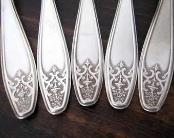 Antique Silverplate Teaspoons, Lady Doris aka Princess 1929, Set of 5 by WM Rogers