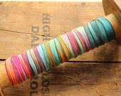 Hand Dyed Silk Ribbon, Interchangeable Jewelry Wrap Bracelet, Tie Dye, Bright, Earthy, Yoga, Boho Jewelry