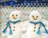 Fabric snowmen card - beaded embroidered card - fabric art - winter landscape - handmade greeting card - nursery art - Christmas card