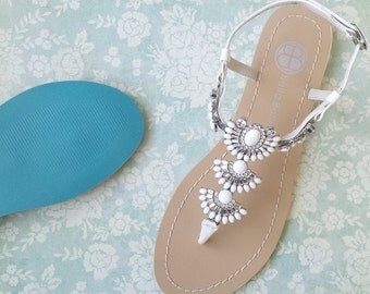 Something Blue Sole Wedding Sandals Shoes for Beach Destination Wedding with Art Deco Great Gatsby White Jewels and Crystals