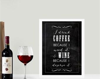 I drink coffee chalkboard wall art print