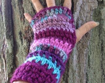 Crochet Fingerless Gloves, Wrist Warmers, Multicolor, Alpaca Blend Yarn - Ready To Ship