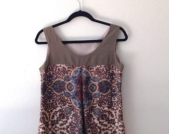 Upcycled Silk Tank Top, Moroccan Design Tank Top, Boho Tank Top, Brown, Beige, Turquoise, Olive, Black, Caramel Top