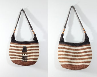Vintage Brown and White Stripe Woven Sisal & Suede Shoulder Bag