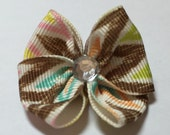 Multi Colored Dog Grooming Hair Bow with Clear Rhinestone Center