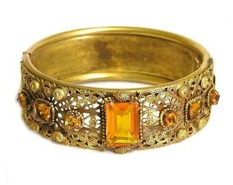 Vintage Amber Glass and Gold Filigree Bracelet