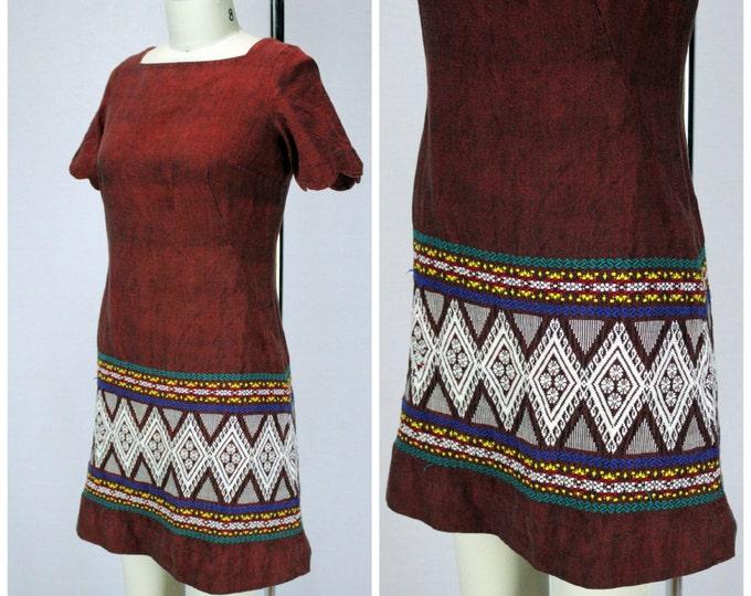 Vintage Embroidered Dress / Vintage Mexicali Dress / Tribal Dress / 1960s Southwest Embroidered Dress / 60s Boho Dress / Vintage Mini Dress
