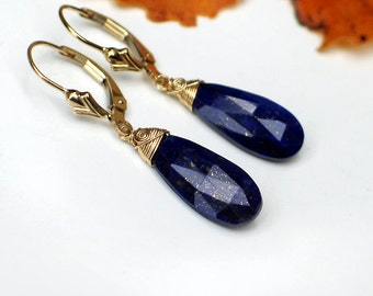 Lapis Lazuli Earrings | Deep Royal Blue Lapis Pear Briolettes Wire Wrapped 14k Gold Fill | Fleur de Lis Leverbacks | Gift Ready to Ship