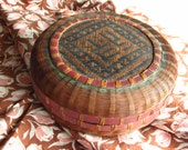 Visually Beautiful Vintage Woven Sewing Basket - Great Condition