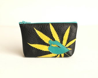 "Cannabis Leaf Mini Clutch Pouch : Acid Green Marijuana Leaf and Turquoise Lips Silhouettes on Black Vegan Leather - ""I Love You Mary Jane"""
