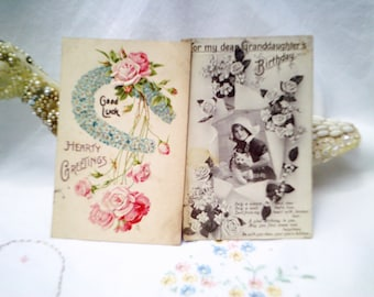 antique cards, antique postcards, floral postcard, good luck card, vintage cat card, cat postcard