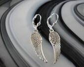 Angel Wing Silver Charm Pierced Earrings