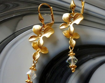 Cascading Gold Plated Orchid Swarovski Crystal AB Pierced Earrings