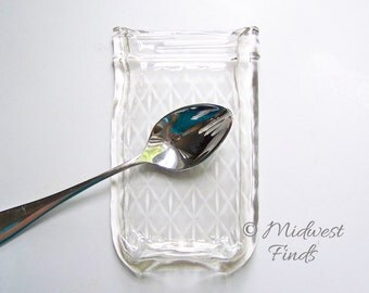 Quilted Melted Mason Jar spoon rest, soap dish, butter dish made from a clear pint Ball jar, includes gift box