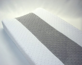 Changing Pad Cover Vertical Stripe White Gray